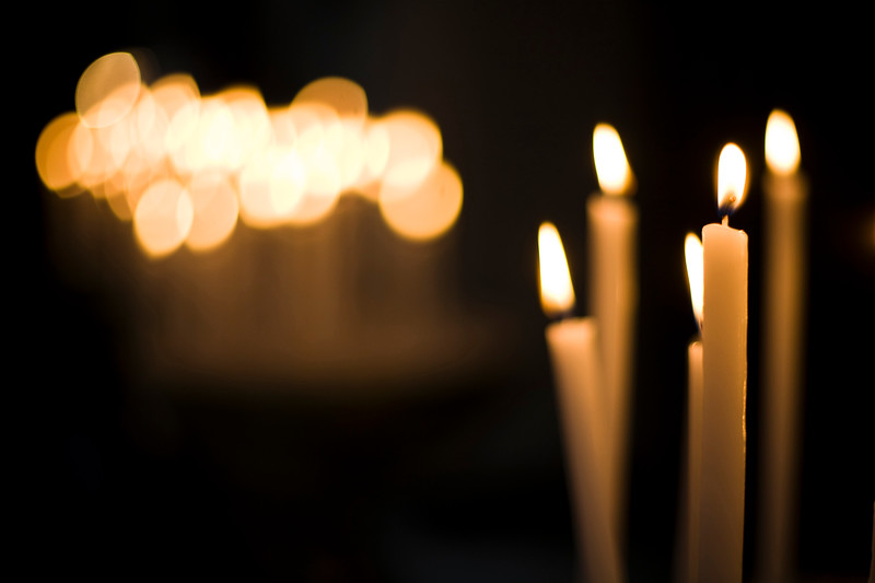 Votive candles, Santa Maria in Trastevere, Rome