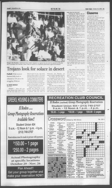 Daily Trojan, Vol. 144, No. 42, October 26, 2001
