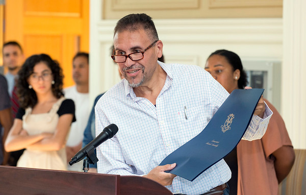 08/16/19 Wesley Bunnell | Staff TRIO, a two week long summer program run by CCSU in science and arts held their closing ceremony on Friday August 16, 2019 at Founders Hall at CCSU. State Representative Robert Sanchez holds a proclamation from the state honoring the program.