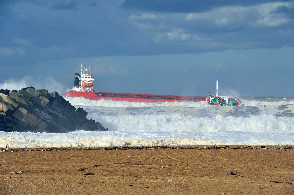 . A picture taken on February 5, 2014 shows a Spanish cargo ship \'\'Luno\'\' which slammed into a dyke and split in two, injuring at least one sailor and raising concerns of a fuel leak, in Anglet, near the French port of Bayonne. AFP PHOTO/ KEPA ETCHANDY/AFP/Getty Images