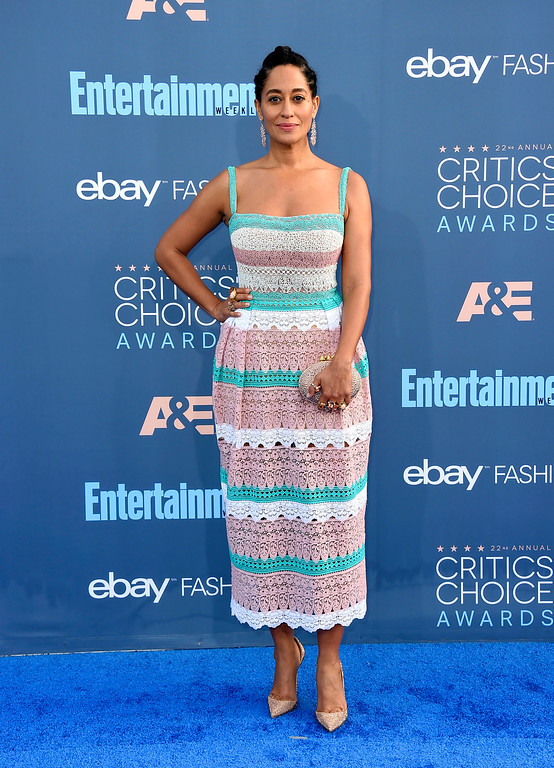. Tracee Ellis Ross arrives at the 22nd annual Critics\' Choice Awards at the Barker Hangar on Sunday, Dec. 11, 2016, in Santa Monica, Calif. (Photo by Jordan Strauss/Invision/AP)