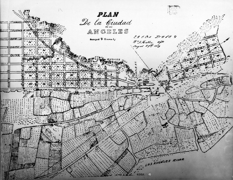Section of E.O.C. Ord's first map of the city of Los Angeles, August 29, 1849