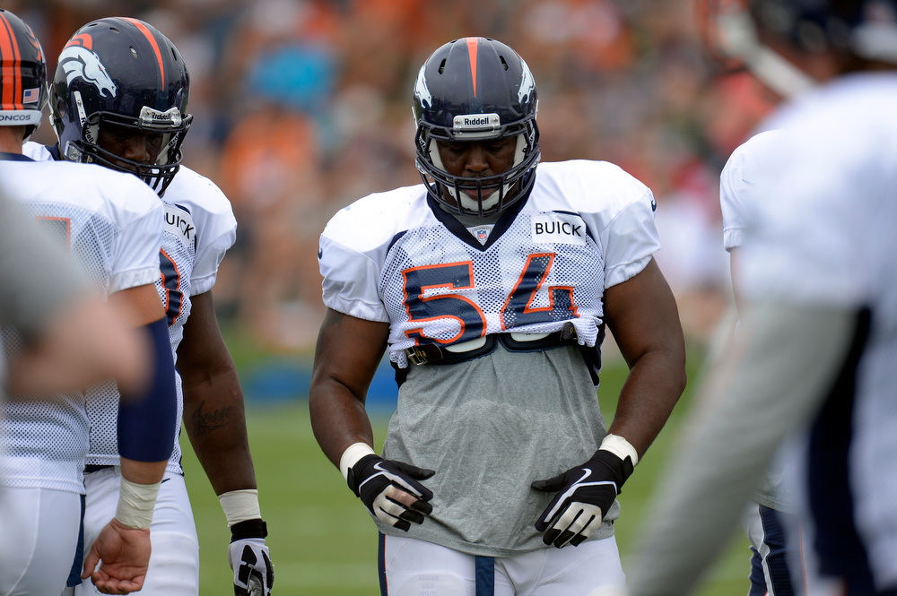 . Denver Broncos G C.J. Davis looks on during training camp July 29, 2013 at Dove Valley. (Photo By John Leyba/The Denver Post)