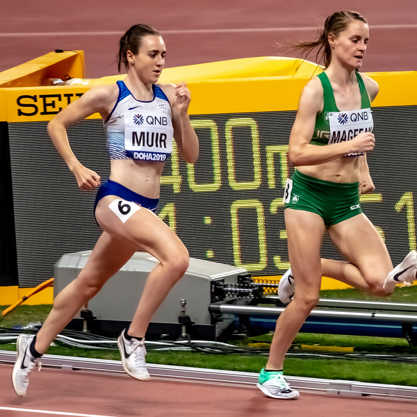 Laura Muir (GBR) & Ciara Mageean (IRL) compete in the Women's 1500 metres final during day nine of 17th IAAF World Athletics Championships Doha 2019 at Khalifa International Stadium on October 05, 2019 in Doha, Qatar. Photo by Tom Kirkwood/SportDXB