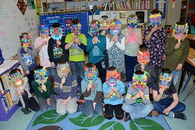 First Grade Chinese Dragon Masks photos by Gary Baker