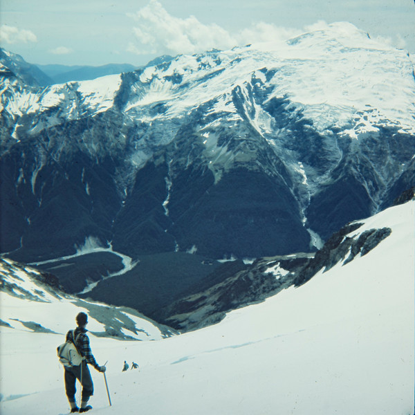1953 John Clay looking into the Landsborough and mt Hooker on trip climbing Mt Ward 2.jpg