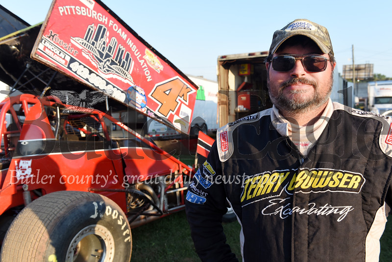 Harold Aughton/Butler Eagle: Bill Kiley of Cabot competed in the Don Martin Memorial Sprint car race at Lenerville Speedway, Tuesday, July 23, 2019.