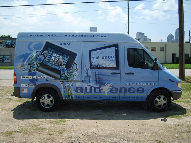Vehicle Wrap installed on a Sprinter Van for Audience Custom Audio.   http://www.skinzwraps.com