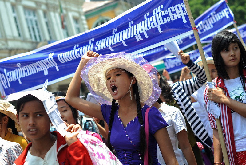 . Protesters shout slogans during a May Day rally in Yangon on May 1, 2014. Hundreds of Myanmar workers staged a Labour Day protest in Yangon on May 1 calling for better working conditions and wages. (Soe Than Win/AFP/Getty Images)