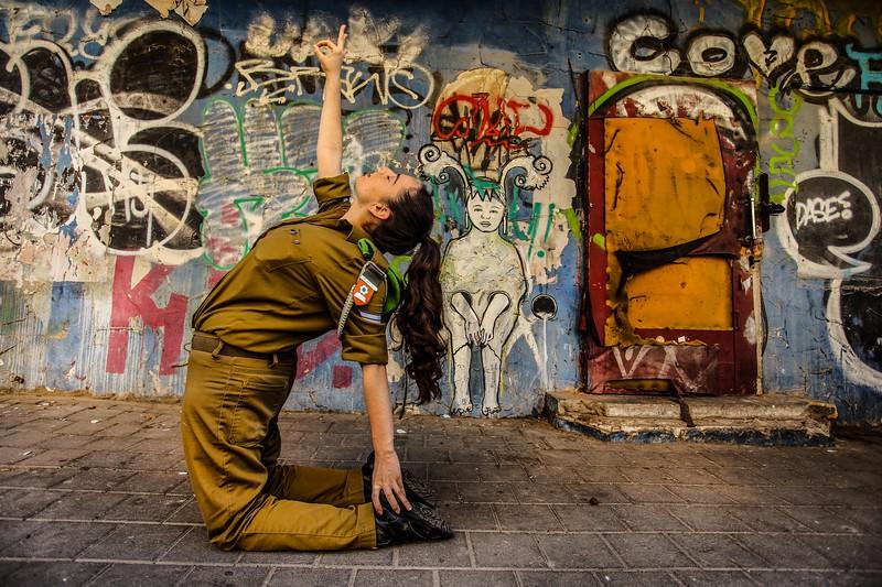 Soldier in Camel Pose ~ Tel Aviv, Israel