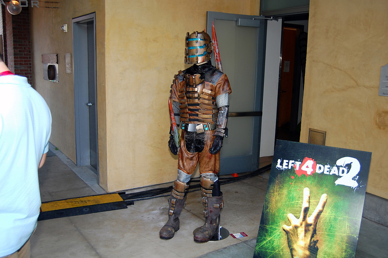 Dead Space costume (no one in it) outside the EA Gamers Lounge