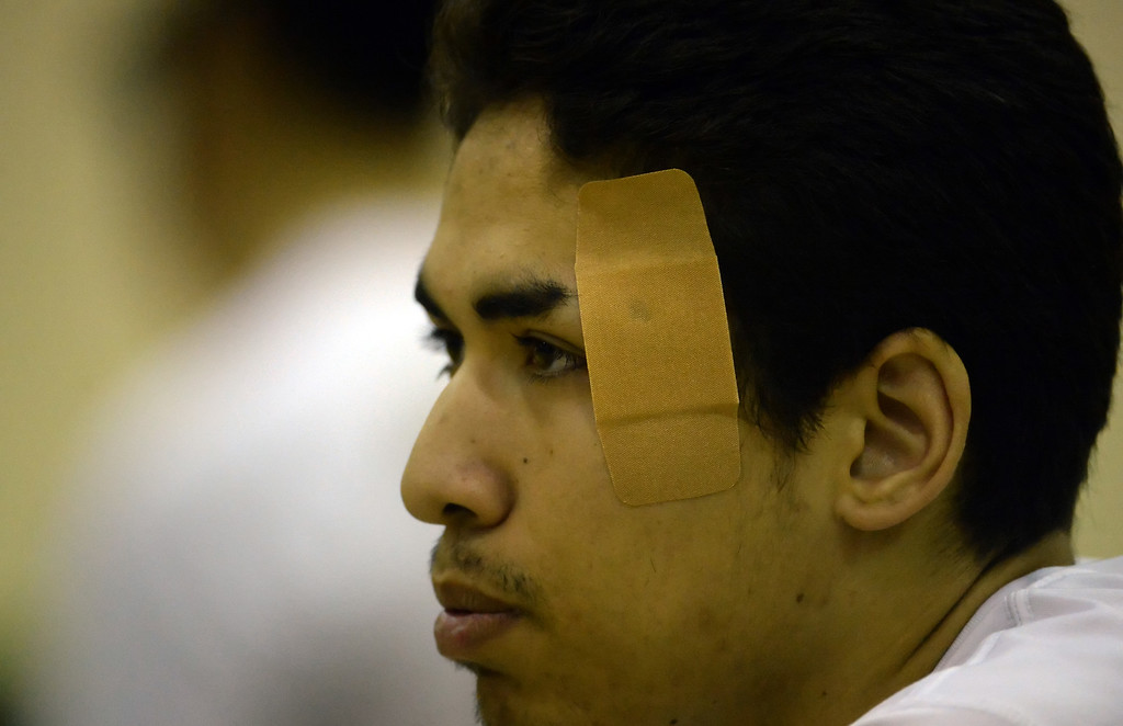 . Damien\'s Daniel Rivera looks on as Santa Fe warms-up prior to a prep volleyball match at Damien High School in La Verne, Calif., on Wednesday, May 20, 2015. Damien won 25-17, 25-19, 29-27. (Photo by Keith Birmingham/ Pasadena Star-News)