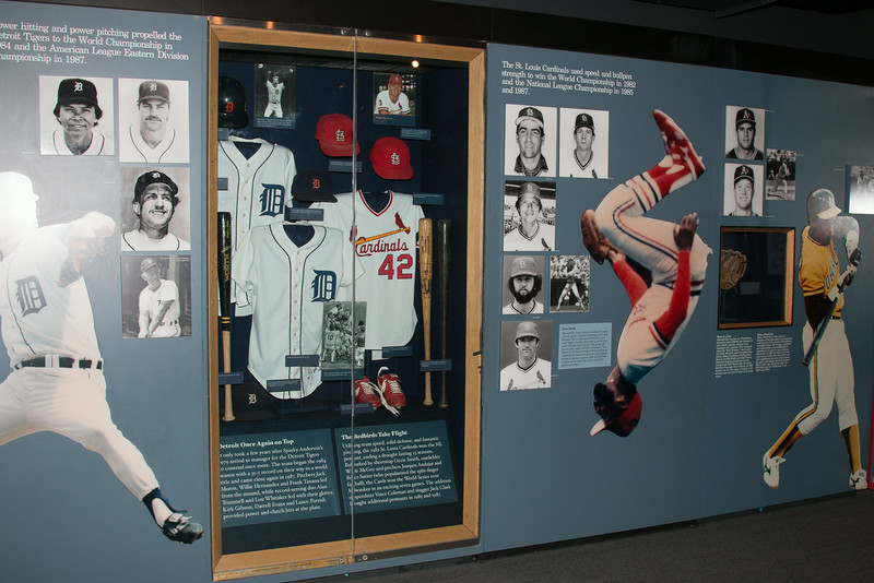 Detroit Tigers and St. Louis Cardinlas of the 1980s display case -- A trip to the Baseball Hall of Fame, Cooperstown, NY, June 2014
