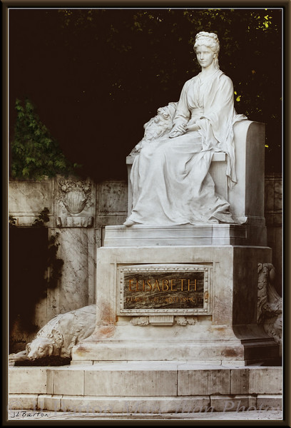 Elisabeth, Austrian Empress  Married Kaiser Franz Joseph in 1854, was assassinated in 1898 in Geneva. Beloved by the population, even today - memorialized in books, films, an operetta and even a musical. This memorial is almost hidden in a lonely corner of the Volksgarten, 1st district.