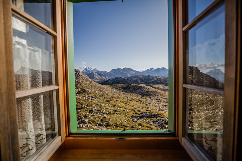 View from Refugio window in the Dolomites