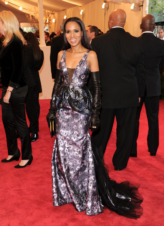". Kerry Washington attends The Metropolitan Museum of Art  Costume Institute gala benefit, ""Punk: Chaos to Couture\"", on Monday, May 6, 2013 in New York. (Photo by Evan Agostini/Invision/AP)"