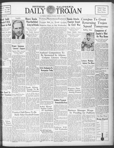 Daily Trojan, Vol. 28, No. 17, October 12, 1936