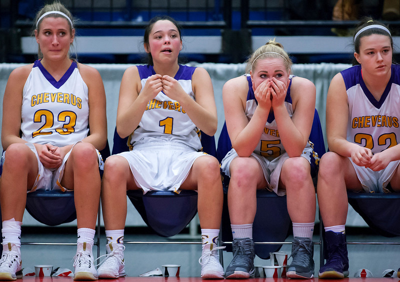 AUGUSTA, Maine -- 02/16/2017 -- Cheverus' bench watches as time starts to expire during their Class AA girls basketball quarterfinal game against Bangor at Augusta Civic Center in Augusta Thursday. Ashley L. Conti | BDN
