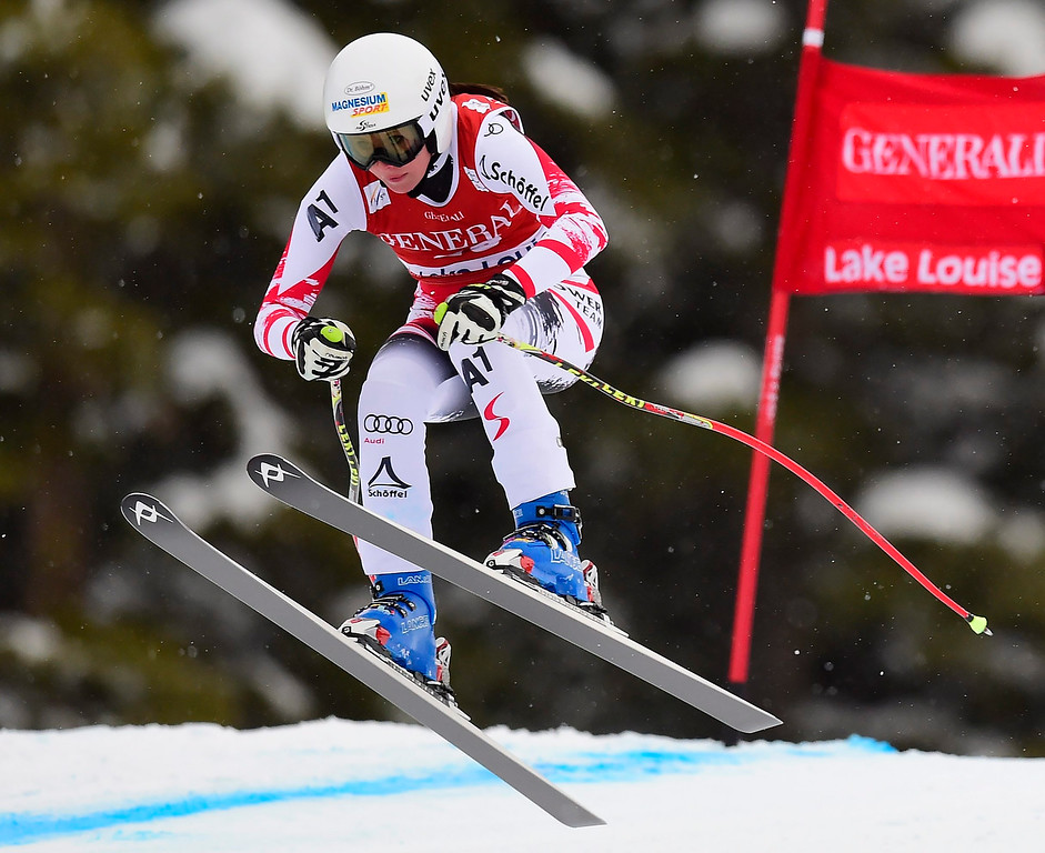 . Cornelia Huetter, of Austria, races down the course during the women\'s World Cup downhill ski race in Lake Louise, Alberta, Saturday, Dec. 6, 2014. (AP Photo/The Canadian Press, Frank Gunn)