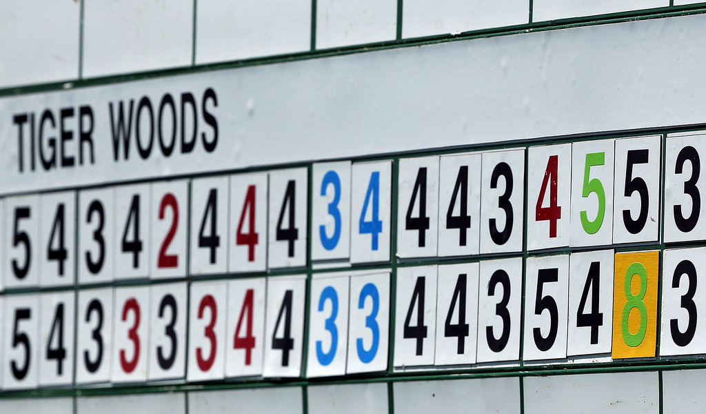 . AUGUSTA, GA - APRIL 13:  The leaderboard showing a scoring adjustment on the 15th hole for Tiger Woods of the United States is seen during the third round of the 2013 Masters Tournament at Augusta National Golf Club on April 13, 2013 in Augusta, Georgia.  (Photo by Andrew Redington/Getty Images)