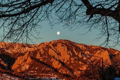 Moonset Over Flatirons