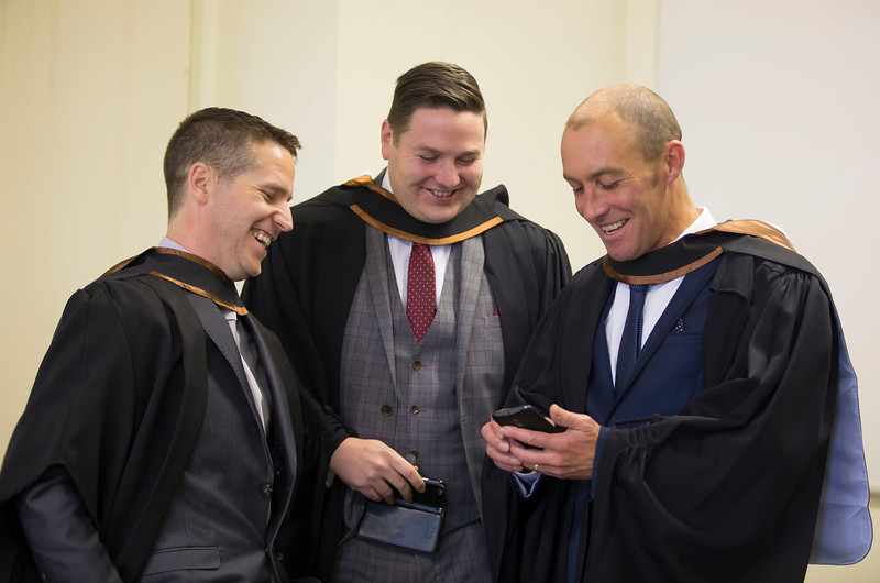 02/11/2016. Waterford Institute of Technology (WIT) Conferring Ceremonies November 2016. Pictured are John Purcell from New Ross, Jimmy Byrne from Kilkenny City and Allen Treacy from Tramore, they graduated Bachelor of Engineering (Hons). Picture: Patrick Browne