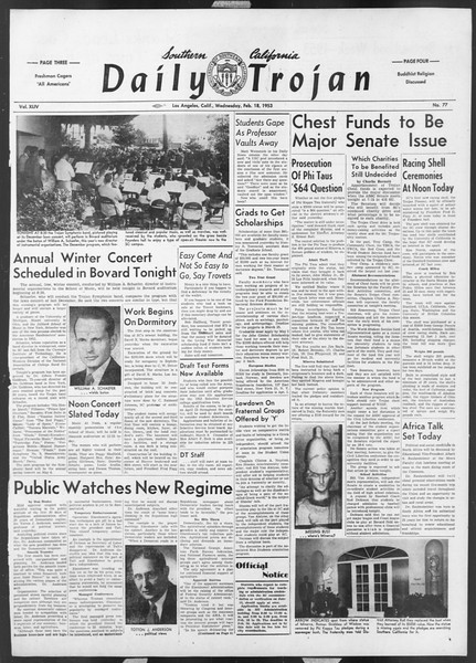 Daily Trojan, Vol. 44, No. 77, February 18, 1953
