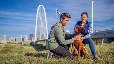 14-Bridge Couple Walking Dog