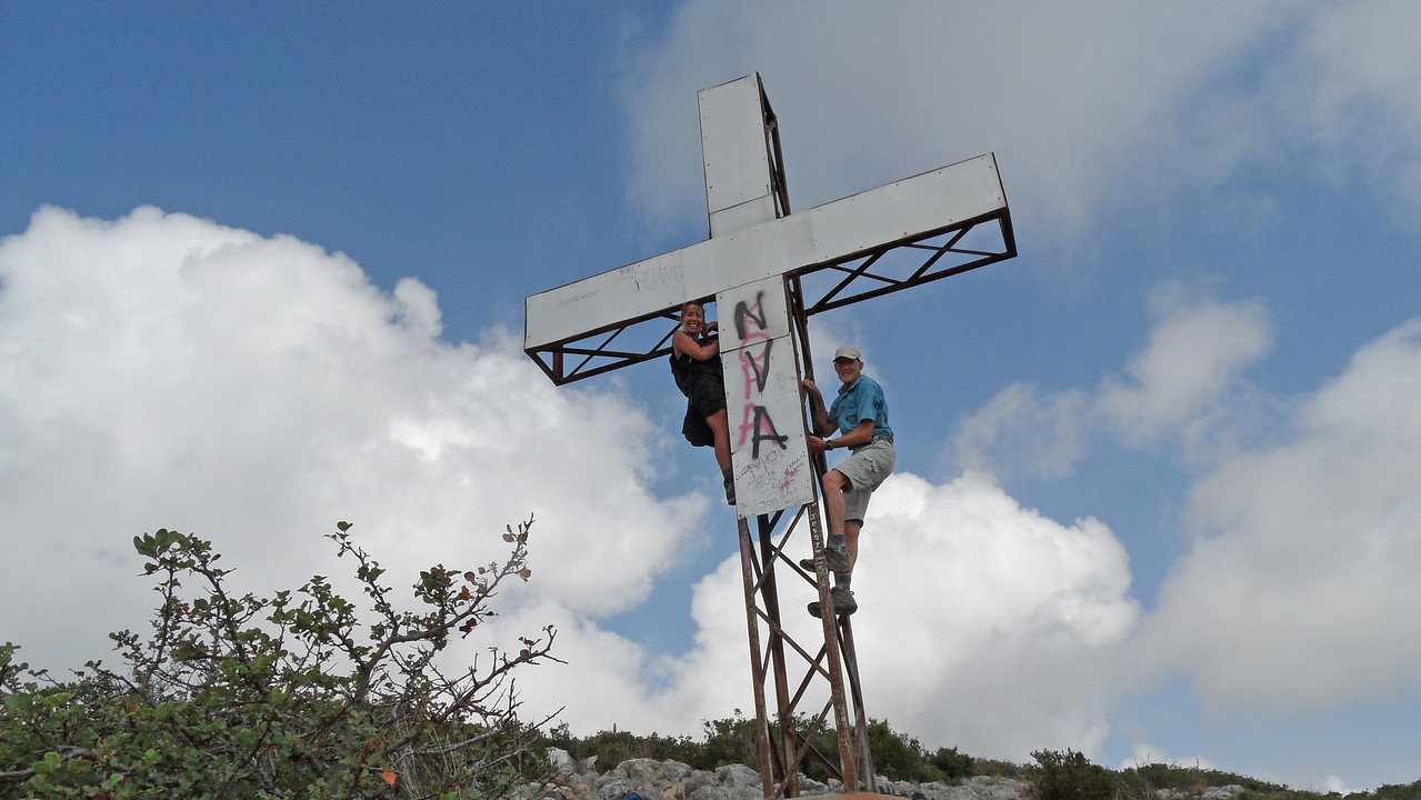 Nickie and Vic climb the leaning cross