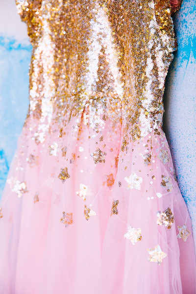 Sequin Gold and Pink Star Dress