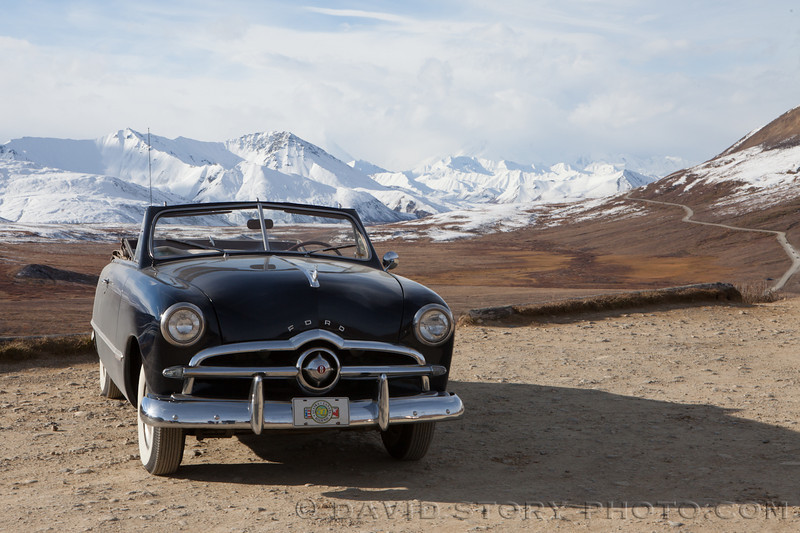 Classic car cruising the road into Denali National Park.