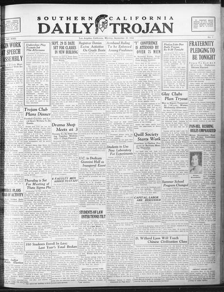Daily Trojan, Vol. 22, No. 7, September 22, 1930