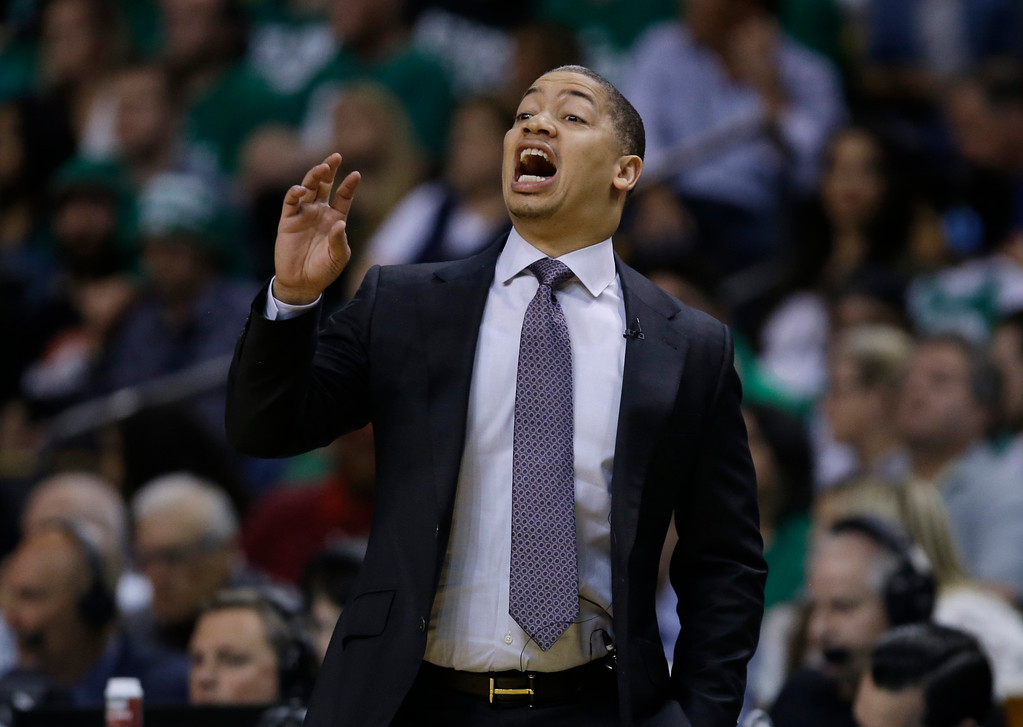. Cleveland Cavaliers coach Tyronn Lue shouts to his team during the first quarter of Game 5 of the NBA basketball Eastern Conference finals against the Boston Celtics, Wednesday, May 23, 2018, in Boston. (AP Photo/Charles Krupa)