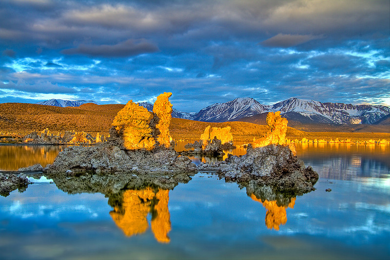 Orange glow at sunrise on mono lake