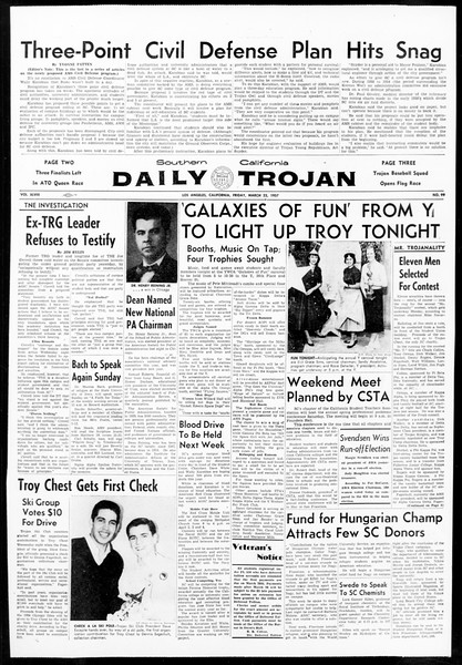 Daily Trojan, Vol. 48, No. 99, March 22, 1957