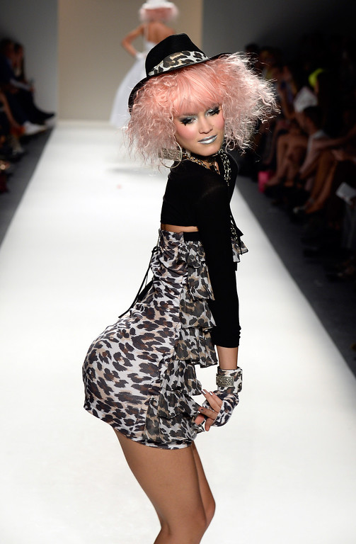 . NEW YORK, NY - SEPTEMBER 11:  A model walks the runway at the Betsey Johnson fashion show during Mercedes-Benz Fashion Week Spring 2014 at The Studio at Lincoln Center on September 11, 2013 in New York City.  (Photo by Frazer Harrison/Getty Images for Mercedes-Benz Fashion Week Spring 2014)
