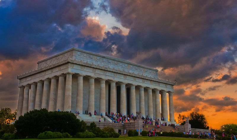 Lincoln Memorial at Sunset with Storm Clouds, Washington, DC