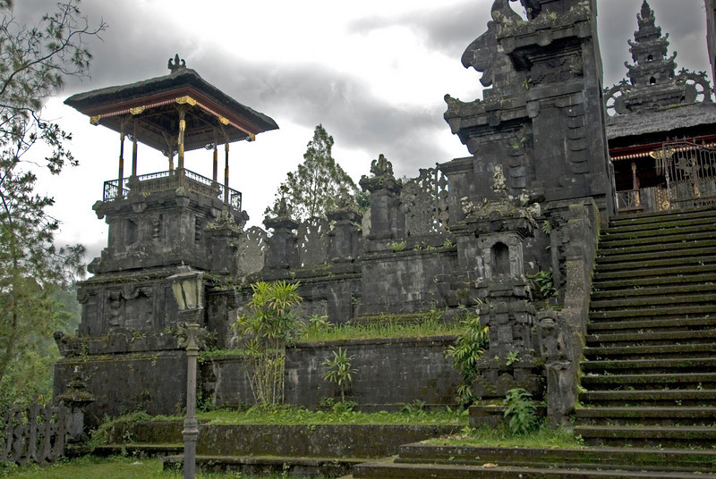 Dark clouds hovering above Mother Temple of Besakih in Bali