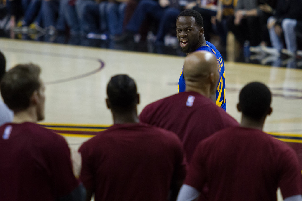 . The Golden State Warriors\' Draymond Green (23) expresses his frustration after a technical foul is called on him during an NBA game at the Quicken Loans Arena on Christmas day.  The Cavs defeated the Warriors 109-108.  Michael Johnson - The News Herald