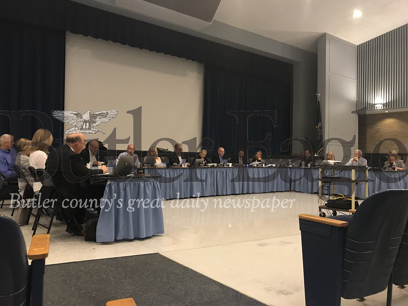 Seneca Valley School Board members voted 8-1 in favor of moving construction of a new school building from the Evans City site, which already hosts an elementary and middle school, to the Ehrman Road property.