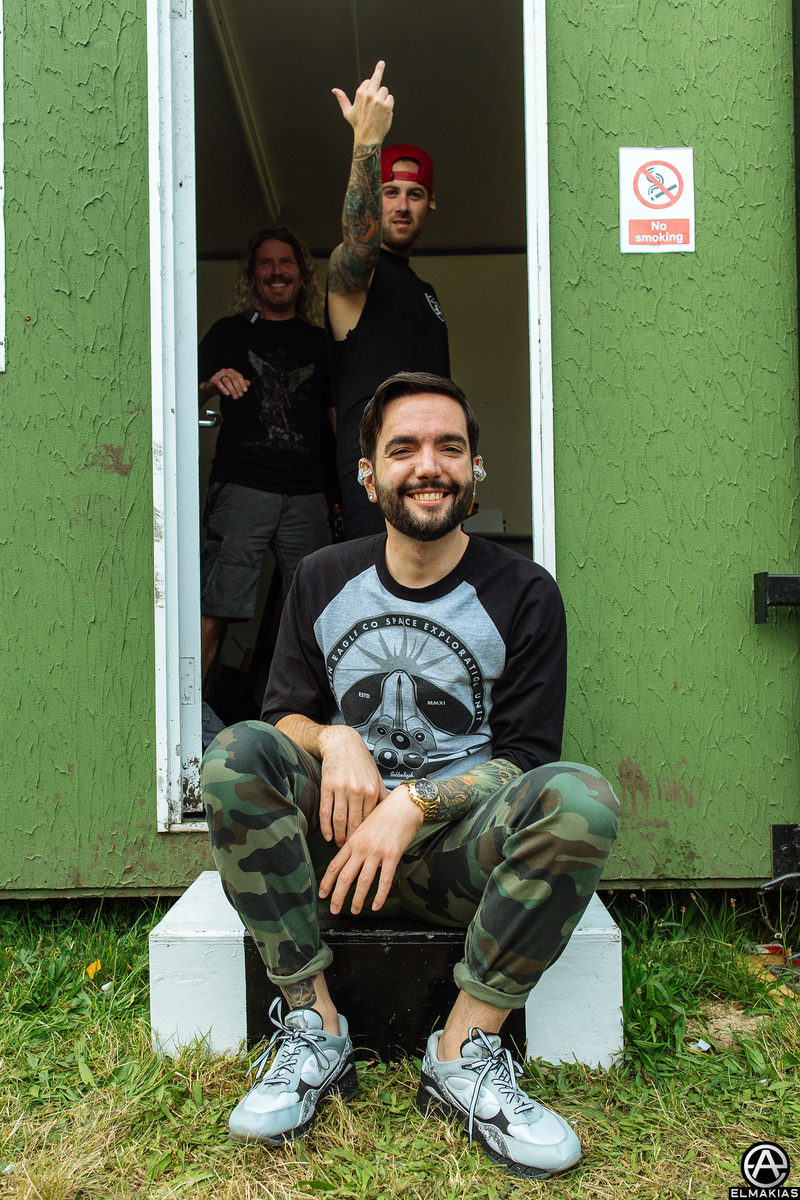 Jeremy McKinnon of A Day To Remember backstage at Reading Festival