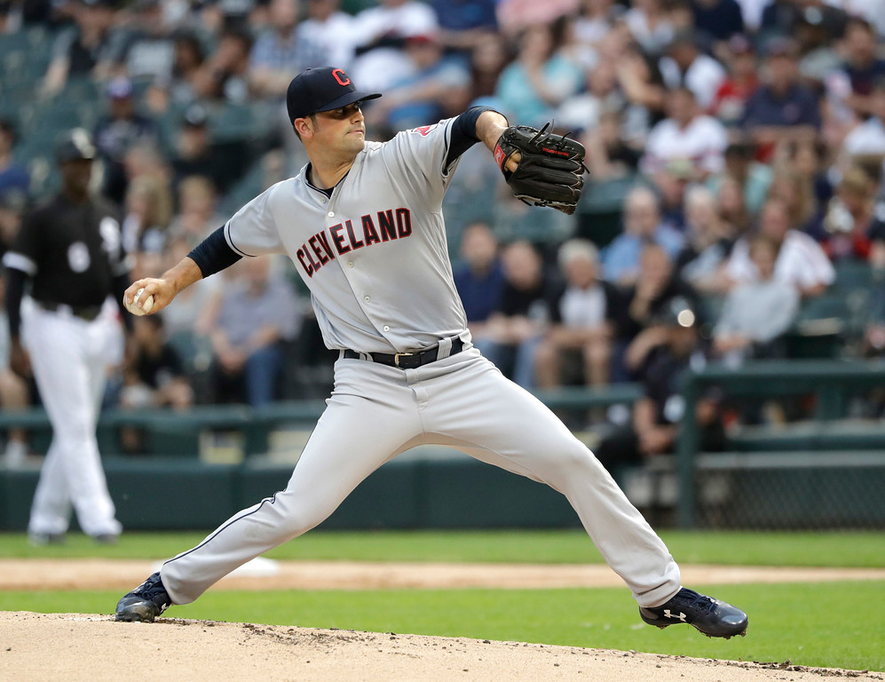 . Cleveland Indians starting pitcher Adam Plutko delivers during the first inning of the teams baseball game against the Chicago White Sox on Tuesday, June 12, 2018, in Chicago. (AP Photo/Charles Rex Arbogast)