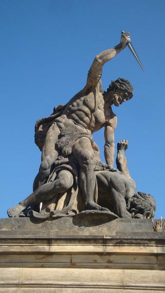 Prague Castle statue dagger.JPG