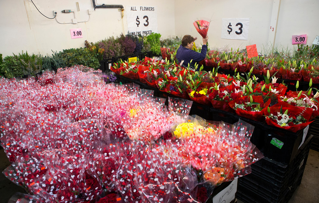 . Gail Firenze gets a bouquet for a customer at Repetto\'s Greenhouse Florist and  in Half Moon Bay, Calif. on Wednesday, Feb. 13, 2013. Repetto\'s expect to busy tomorrow for Valentine\'s Day. (John Green/Staff)