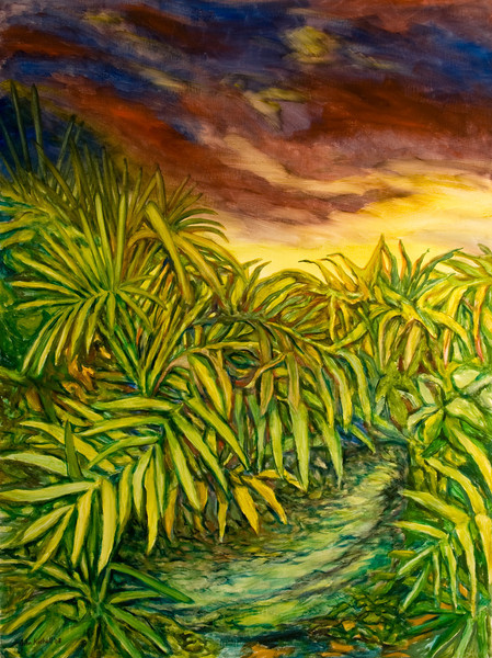 """© 2008 John Rachell Title: Garden, May 2, 2008 Image Size: 36"""" w by 48"""" d Dated: 2008 Medium and Support: Oils on Linen Signed: LL Signature"""