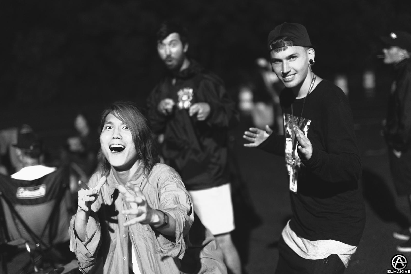 Hiroki Ikegawa of Crossfaith and Kyle Anthony of PVRIS at Vans Warped Tour 2015 by Adam Elmakias