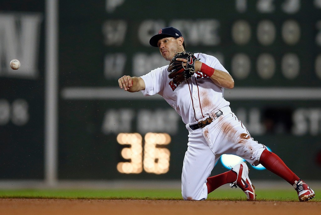 . Boston Red Sox\'s Ian Kinsler throws to first base on the ground out by Cleveland Indians\' Yandy Diaz during the fifth inning of a baseball game in Boston, Tuesday, Aug. 21, 2018. (AP Photo/Michael Dwyer)