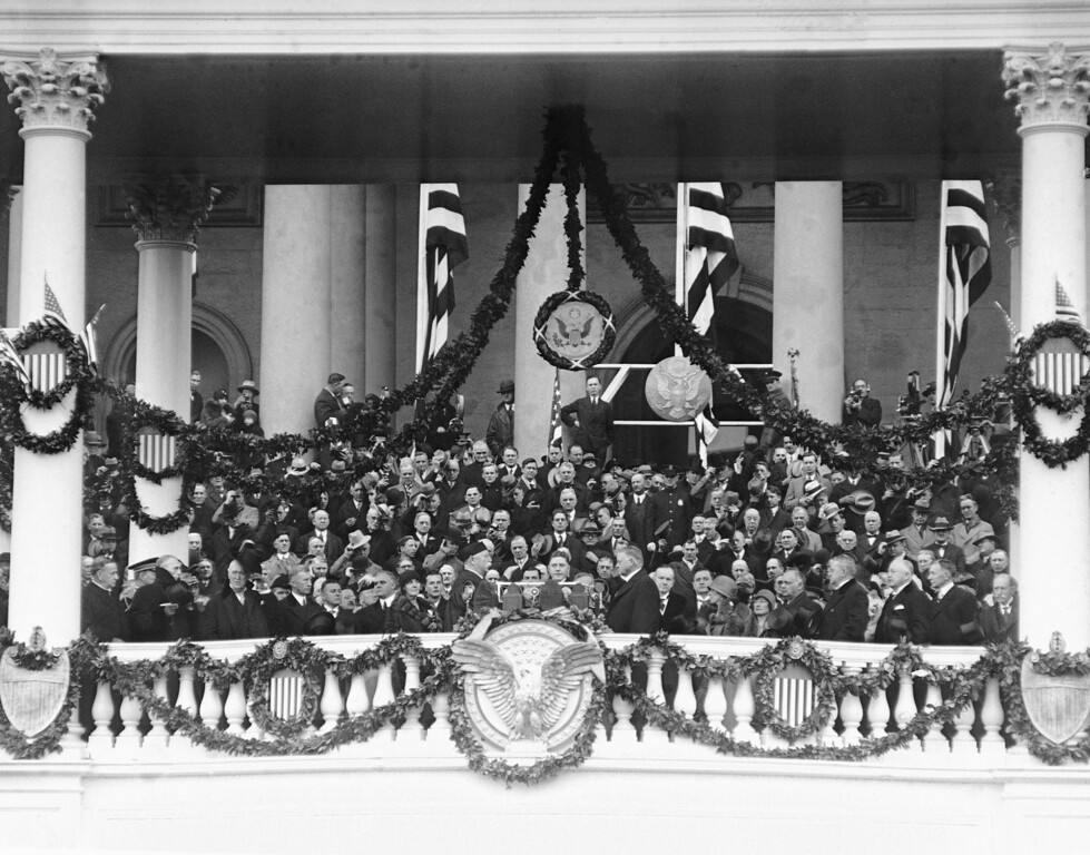 . Herbert Hoover takes the oath of office in Washington, D.C., March 4, 1929.  Chief Justice William H. Taft administers the oath of office. (AP Photo)