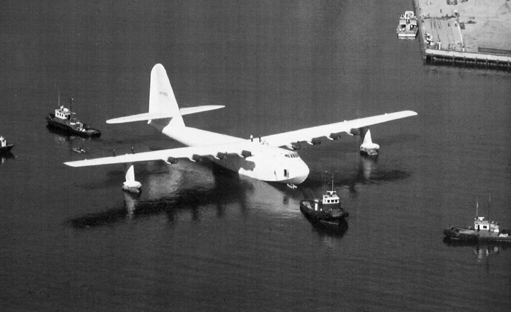 . Millionaire aviator and industrialist Howard Hughes\' Spruce Goose flying boat is shown in 1980.  The wooden giant was flown only once, in 1947, on a trip lasting 70 seconds.  (AP Photo)
