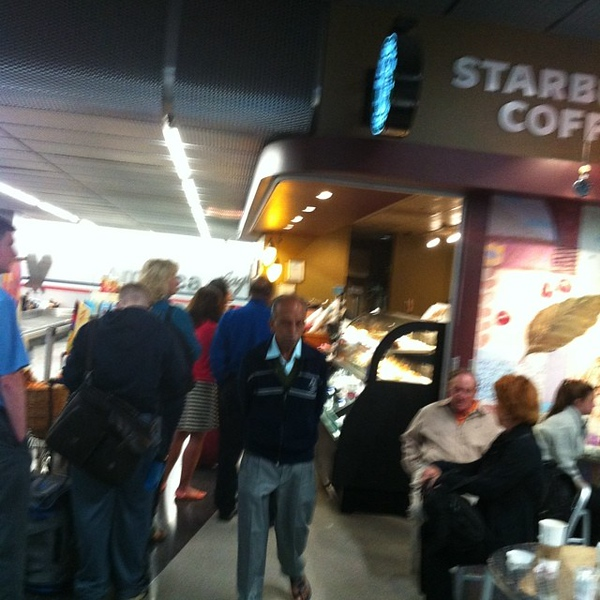 Ridiculously long line at Starbucks at 1 am.